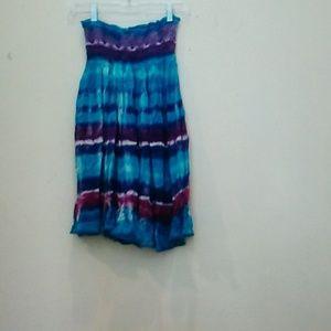 Tie Dye Strapless Dress